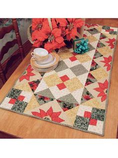Christmas Poinsettia Table Runner free quilting pattern of the day from freepatterns.com 8/11/13