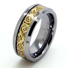 Blue Chip Unlimited - Unisex 8mm 18k Gold Plated Celtic Dragon Inlay Solid Tungsten Carbide Ring Fashion Engagement Ring Wedding Band Size 9.5 (9 1/2) Blue Chip Unlimited. $23.95. Shape: Flat with beveled edges. Designer 8mm Solid Tungsten Carbide Band with 18k Gold Plated Celtic Dragon Inlay. Sleek Unisex Ring (Not resizable). Finish: High Polished. Comfort Fit Cobalt Free Band. Save 94%!