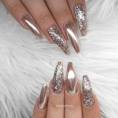 60 trendy sparkle acrylic coffin nails design with glitter inspiration # acrylic . - 60 Trendy Sparkle Acryl Sarg Nägel Design mit Glitzer Inspiration … 60 Trendy Sparkle acrylic coffin nails design with glitter inspiration # acrylic Sparkle Nails, Glam Nails, Fancy Nails, Bling Nails, Bling Bling, My Nails, Classy Nails, Simple Nails, Glitter Nails