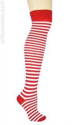 K. Bell Over the Knee Striped Socks - RED / WHITE from Artisan Socks www.artisansocks.com