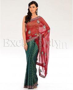 Maroon and Teal Half and Half Sari with Golden Motifs