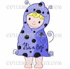 {4 Boys- Words It's A Boy w a Boy Wrapped n a Blanket cuteembroidery-10276844-153128 K.H.}  Free Embroidery Designs, Cute Embroidery Designs