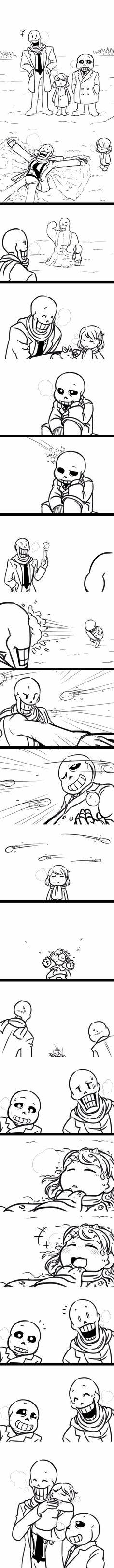 Papyrus, Frisk, and Sans - MobsterUT AU - comic
