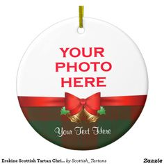 Erskine Scottish Tartan Christmas Photo Double-Sided Ceramic Round Christmas Ornament