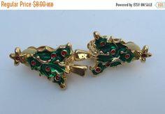 ON SALE Earrings Clip Christmas Tree Enameled Red Rhinestones Vintage
