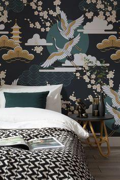 Unsere Tapete eines dunklen, orientalischen Himmels beinhaltet tiefes Grün und Gold mit einem traditionellen japanischen Stilmuster.