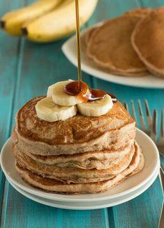 Banana buck wheat pancakes
