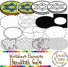 Glitter Jewish Hanukkah Chanukah Gelt Money Worksheet Elements Clipart! Contained in the zip file are 15 PNG files with transparent background , 300dpi and high resolution.This set includes 2 colored images and 13 black and white images.They are great for creating worksheets for tracing, cutting, drawing, counting, etc.