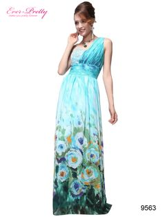 One Shoulder Floral Print Chiffon Ruffles Evening Dress