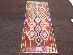 "Pink Kurdish Kilim Rug,4,5""x9,10"" Feet 136x300 Cm Flat Weave Woven Anatolian Area Kilim Rug,Kurdish Vintage Kilim Rug,Vintage Pink Kilim Rug"