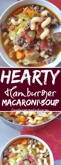 Hearty Hamburger Macaroni Soup - food I recipes - Suppe Hamburger Macaroni Soup, Hamburger Soup Crockpot, Macaroni Soup Recipes, Crock Pot Soup, Chicken Soup Recipes, Beef Recipes, Cooking Recipes, Homemade Hamburgers, Chili Soup