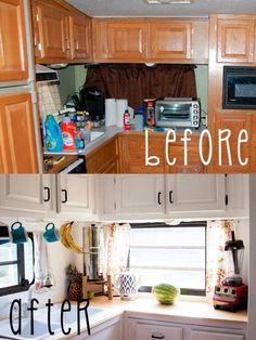 RV kitchen update.  White kitchen cabinets