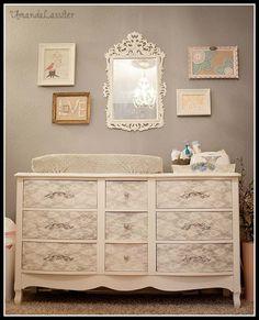 Bella's Vintage Nursery {Home} - use lace as a stencil