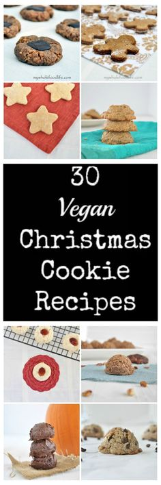 30 Vegan Christmas Cookies perfect for cookie swaps. All are refined sugar free and many are gluten free. #vegan #holiday