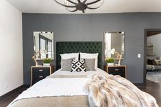 Masters of Flip luxe lodge master bedroom bed with green headboard and faux-fur throw Bedding Master Bedroom, Bedroom Green, Home Decor Bedroom, Bedroom Ideas, Masters Of Flip, Home Design Decor, House Design, Green Headboard, House Flippers
