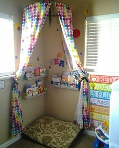 Reading nook for kids Reading Corner Classroom, Reading Nook Kids, Daycare Rooms, Home Daycare, Kids Daycare, School Kids, Classroom Design, Classroom Decor, Diy Curtains