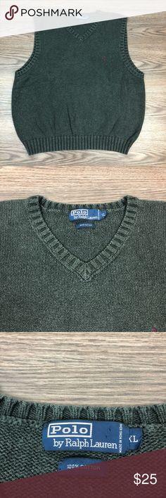 973a6d46d317 Polo Ralph Lauren Grey Sweater Vest XL Polo Ralph Lauren Solid Grey V-Neck  Sweater