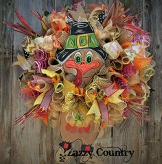 Zazzy Country on Facebook Thanksgiving Projects, Thanksgiving Wreaths, Deco Mesh Wreaths, Holiday Wreaths, Burlap Wreaths, Ribbon Garland, Garlands, Paper Mesh, Diy Wreath