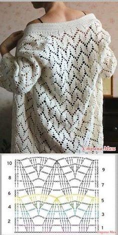 Pull Crochet, Gilet Crochet, Mode Crochet, Crochet Cardigan Pattern, Crochet Jacket, Crochet Blouse, Crochet Poncho, Crochet Stitches Chart, Crochet Square Patterns