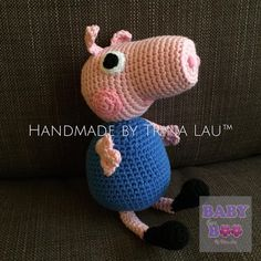 George the Pig Code No: #36GEO072016 Material: 80% Cotton and 20% Milk Fiber Size (Head to Feet): 21cm (H)