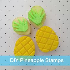 100 + Ridiculously DIY Pineapple Crafts You Will Love To Make - Printing Stamps Potato Print, Potato Stamp, Stamp Printing, Printing On Fabric, Diy For Kids, Crafts For Kids, Stamp Carving, Ideias Diy, Summer Crafts