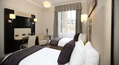 A Standard Twin Room at Rydges Kensington London. New Zealand Accommodation, Quality Hotel, Kensington London, London Hotels, Find Hotels, United Kingdom, Twin Room, Curtains, Bed
