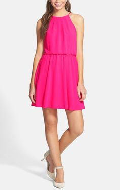 Love this bright pink chiffon skater dress!