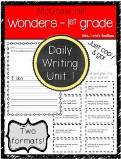 Wonders First Grade Unit 1 Writing and Reading Response. Two formats for differentiated learning: Printable packet with space for drawing and writing for all students or cut and glue prompts for journals for more advanced writers. 1st Grade Writing, First Grade Reading, First Grade Math, Teaching Writing, Grade 1, Writing Prompts, Third Grade, Teaching Ideas, Wonders Reading Programs