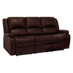 "RecPro Charles 80"" Triple RV Zero Wall Hugger Recliner Sofa w/ Drop Down Console Mahogany. Unique modular design that ships in two sections with removable backrest for easy installation. Space saving double zero wall hugger recliners only require 3 inches of clearance. Ships in 3 box's and can be assembled in less than 10 minutes. Durable and easy to clean Mahogany Faux Leather (Polyurethane). 80""L x 37""W x 39""H."