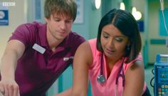 Casualty: Cal faces up to fatherhood Medical Tv Shows, Medical Drama, Bbc Casualty, Holby City, Thomas The Tank, English Actresses, Parenting, Faces, The Face