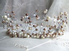Items similar to REDUCED - off! Stunning chocolate and caramel Darcy tiara - one of a kind on Etsy Wire Wrapping, Swarovski Crystals, Caramel, Pearl Earrings, Brooch, Pearls, Chocolate, This Or That Questions, Bridal