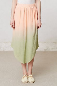 Una Gradient Skirt by Correll Correll from Anthropologie - Peach and pale limey green compliment and contrast very gently against each other in a very lively yet not overwhelming manner.