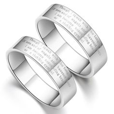 #engraved Couple Promise Ring #Wedding Bands at Yoyoon.com