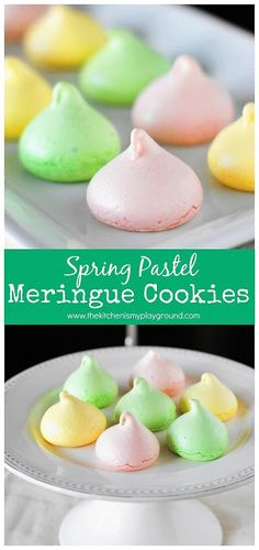 Spring Pastel Meringue Cookies ~  Choose your flavor by changing up your choice of flavoring extract!  Love how versatile these are. #meringuecookies #Spring #springcookies #Easter #Eastercookies #thekitchenismyplayground  www.thekitchenismyplayground.com