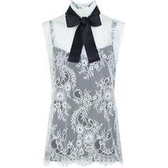Philosophy Di Lorenzo Serafini Cream Lace Tie Neck Sleeveless Blouse ($265) ❤ liked on Polyvore featuring tops, blouses, neck tie blouse, sleeveless tie neck blouse, neck ties, tie blouse and cream blouse