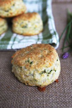 Cheese and Chive Sourdough Biscuits (no sourdough starter, use buttermilk)..  Yumm