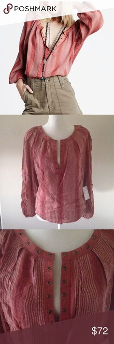 """Price cut Today Only ✂️ Free People Top Burnt red long sleeve blouse by Free People. All over stripes. Loose fitting. Slightly longer in the back. Pleaded V-neck line with hardware detail. Rayon material. Approx Measurements Bust 26 1/2"""" Length front 24"""" Back 25 1/2"""" (it's wrinkled from being in the package) Final Markdown PRICE FIRM Free People Tops Blouses"""