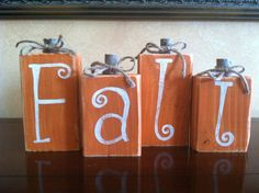 Wood Fall Pumpkin Block set - Seasonal Home Decor for fall, halloween, and thanksgiving decorating by WoodnExpressions on Etsy Thanksgiving Crafts, Thanksgiving Decorations, Fall Crafts, Holiday Crafts, Halloween Decorations, 4x4 Crafts, Harvest Decorations, Lawn Decorations, Thanksgiving Table