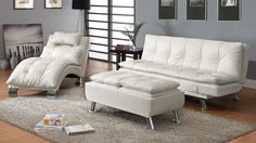 Contemporary and comfortable, this Coaster Furniture Carlsbad Chaise Lounge makes a designer statement and maximizes relaxation. This chaise lounge. White Sofa Bed, Sofa Bed Set, White Ottoman, White Futon, Futon Sofa, White Sofas, Cozy Sofa, Sleeper Sofas, Chaise Sofa