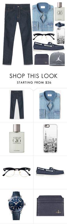 """Menswear Essential: Dark Denim"" by piedraandjesus ❤ liked on Polyvore featuring Gucci, MANGO MAN, Giorgio Armani, Casetify, Topman, Sperry, OMEGA, Vivienne Westwood, Jordan Brand and men's fashion"