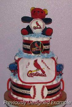 Cardinals-Diaper-Cake.JPG - St. Louis Cardinals Diaper Cake