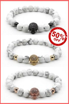 Men's Bracelets With white Stone Beads and Skull Charm - Mens Jewellery