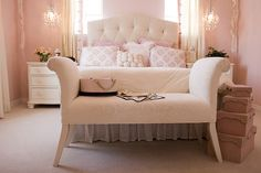 feminine bedroom in shades of pink and cream