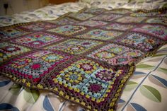 crochet afghan throw lap rug blanket motif granny square Ravelry by thekittystitches, via Flickr