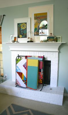 mmmcrafts - Painted my brick hearth white. I love it!