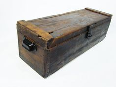 Wooden Storage Chest Antique Tool Box