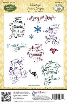 JustRite - Cling Mounted Rubber Stamps - Christmas Inner Thoughts at Scrapbook.com