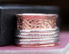 Koper en Sterling Zilver Spinner Ring, gemengde metalen Ring, handgemaakt, gemaakt om te bestellen