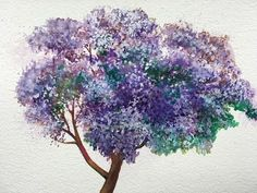 How to paint a Jacaranda tree in bloom with watercolor - YouTube