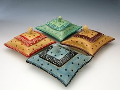 Pillow Shaped treasure trinket box in Honey by Creativewithclay, $48.00